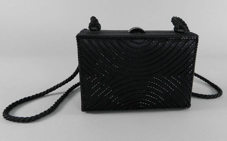 Chanel Vintage 1997 Black Satin Beaded Evening Box Bag 2