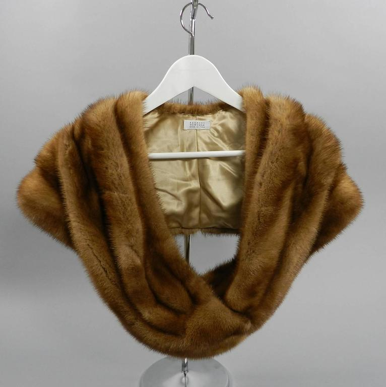 Brown Barneys New York Natural Mink Shawl / Capelet For Sale