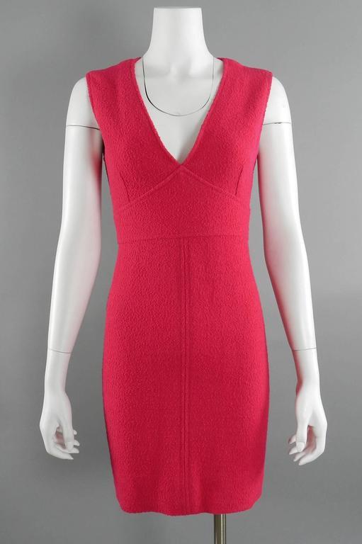 Chanel Vintage 1995 Hot Cherry Pink Wool Tank Dress 6