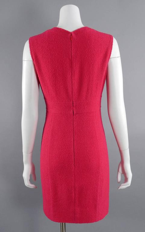 Chanel Vintage 1995 Hot Cherry Pink Wool Tank Dress 3