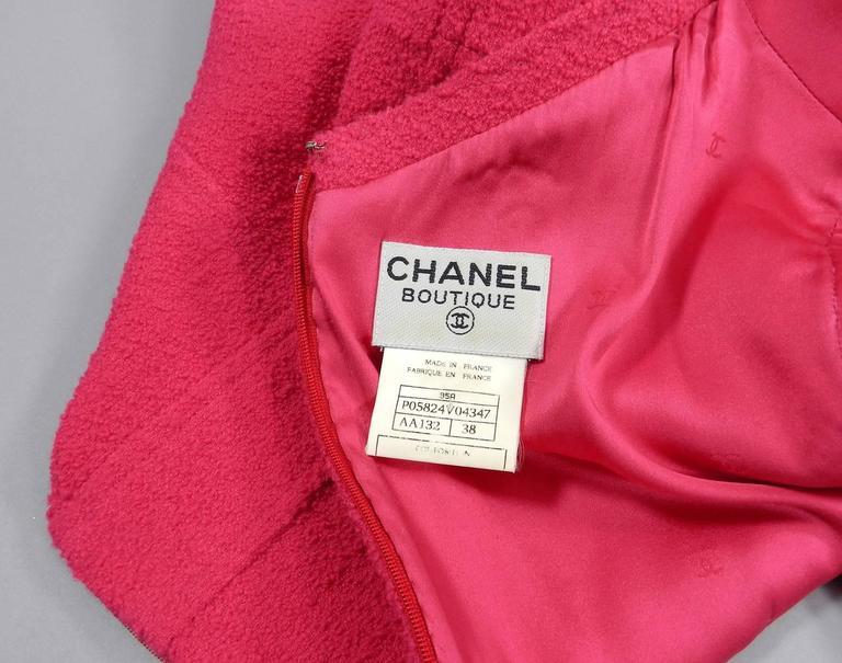 Chanel Vintage 1995 Hot Cherry Pink Wool Tank Dress 4