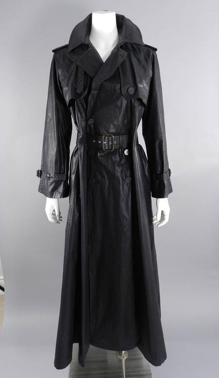 Jean Paul Gaultier Vintage Waxed Canvas Trench Coat For Sale 4