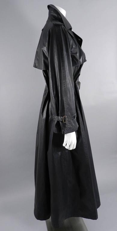 Black Jean Paul Gaultier Vintage Waxed Canvas Trench Coat For Sale