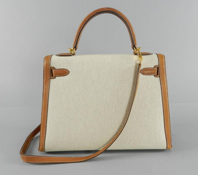 e25c47d79387 Hermes Kelly 32cm bag in bi-color barenia natural leather and toile canvas.  Used