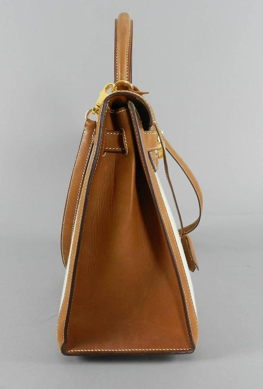 bd8c8a45b706 Hermes Kelly 32cm Sellier Barenia Natural and Toile Bi-Color Bag In  Excellent Condition For
