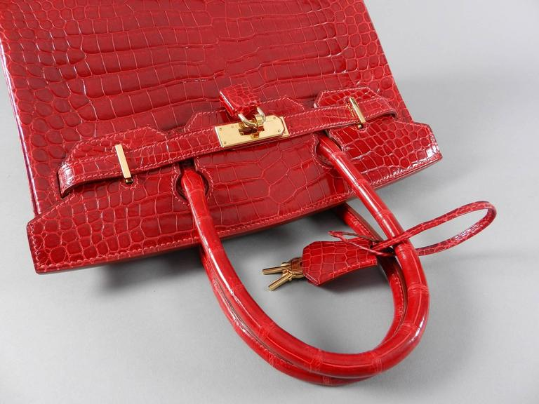 Hermes Bright Red Porosus Crocodile Birkin Bag 30 With