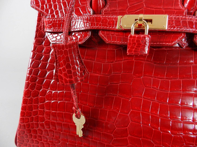 Hermes Bright Red Porosus Crocodile Birkin Bag 30 with Gold ...