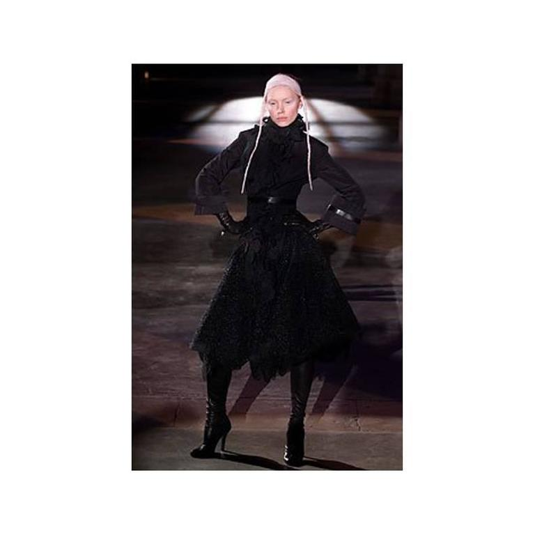 Alexander McQueen Fall 2002 Black Silk Victorian Style Jacket In Excellent Condition For Sale In Toronto, CA