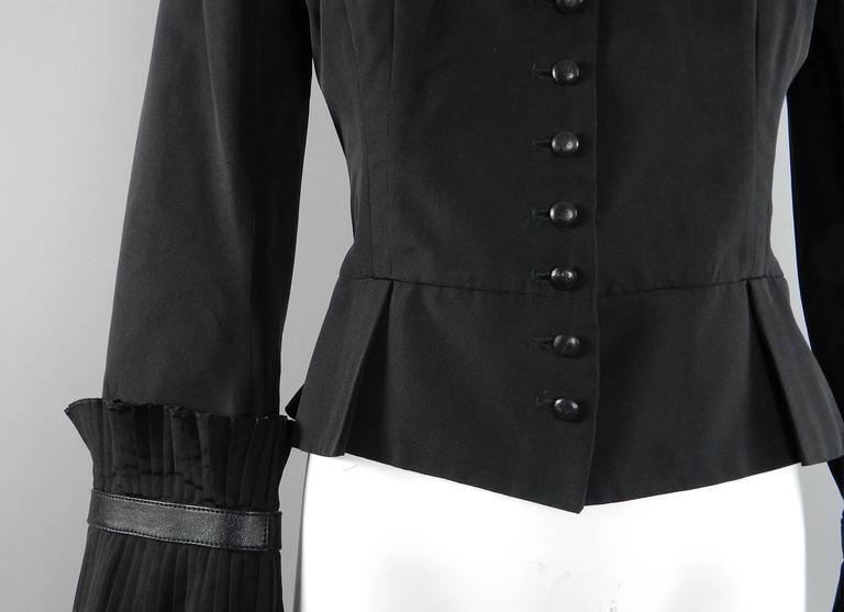 Alexander McQueen Fall 2002 Black Silk Victorian Style Jacket For Sale 1