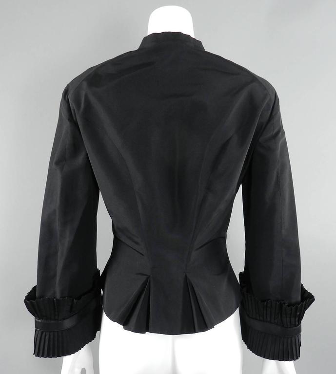 Alexander McQueen Fall 2002 Black Silk Victorian Style Jacket For Sale 2