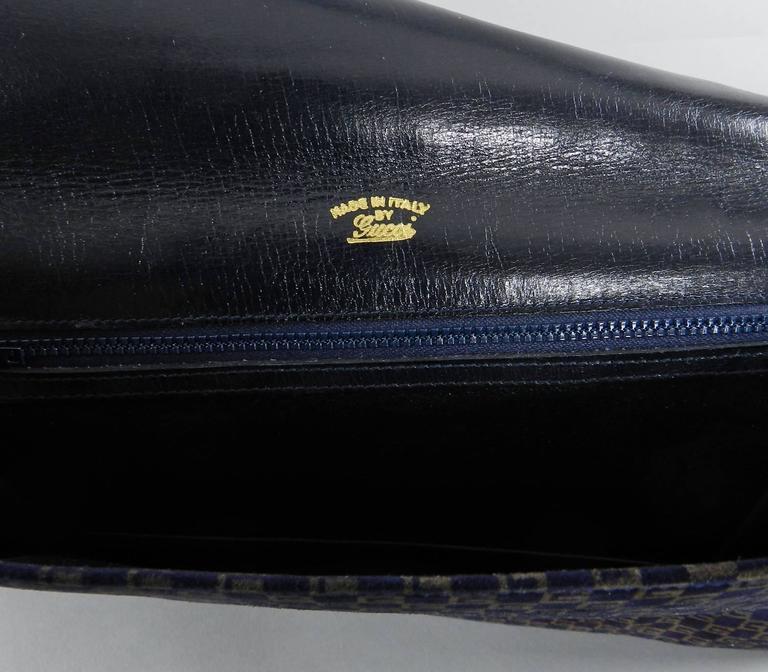 Gucci Vintage 1970 S Suede Logo Clutch Bag At 1stdibs