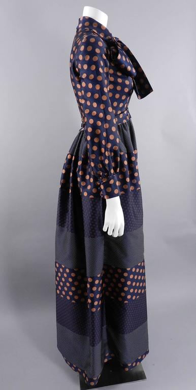 Geoffrey Beene 1970's Polkadot Gown with bow at Neck 2