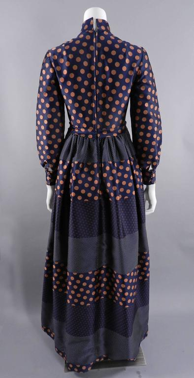 Geoffrey Beene 1970's Polkadot Gown with bow at Neck 3