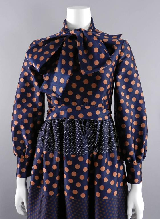 Geoffrey Beene 1970's Polkadot Gown with bow at Neck 4