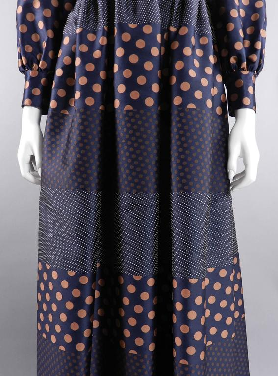 Geoffrey Beene 1970's Polkadot Gown with bow at Neck 5