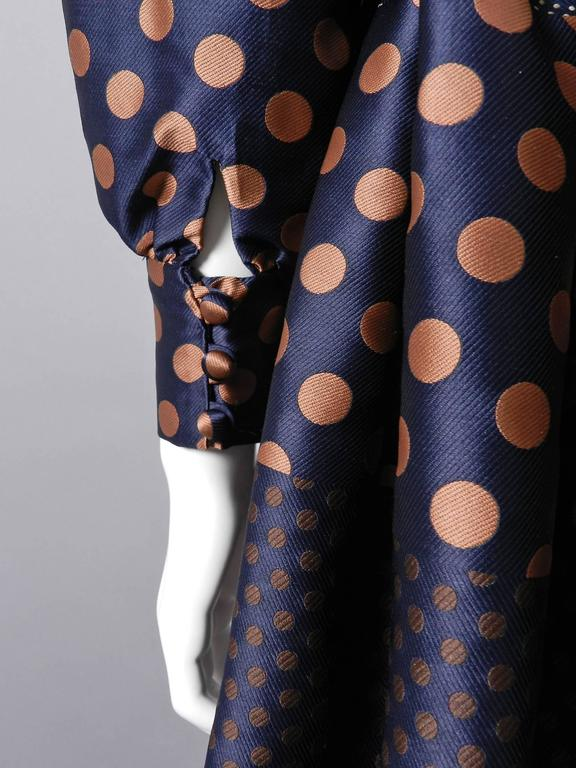 Geoffrey Beene 1970's Polkadot Gown with bow at Neck 6