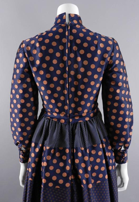 Geoffrey Beene 1970's Polkadot Gown with bow at Neck 7