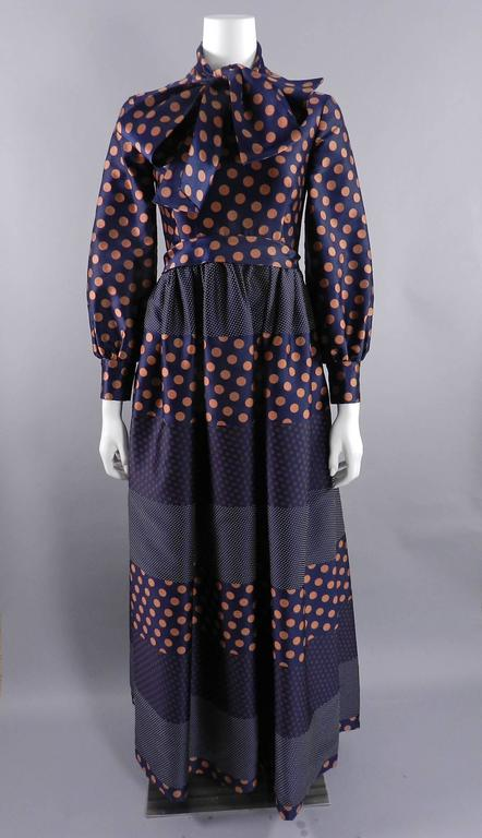 Geoffrey Beene 1970's Polkadot Gown with bow at Neck 8