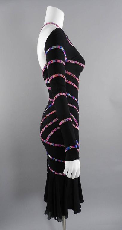 Gianni Versace 1990's Black and Pink Silk Dress with Stars 2