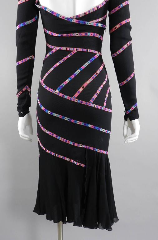 Gianni Versace 1990's Black and Pink Silk Dress with Stars 4