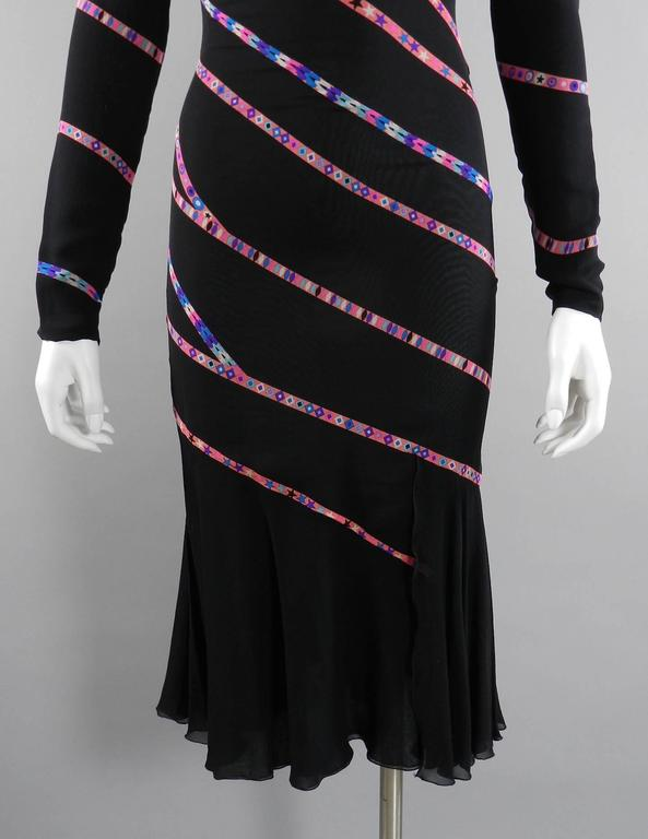Gianni Versace 1990's Black and Pink Silk Dress with Stars 7