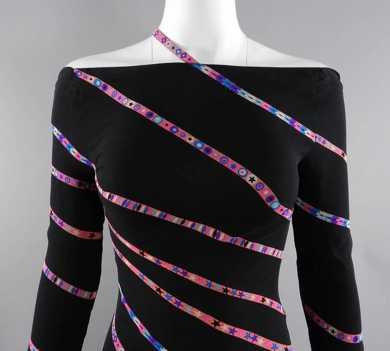 Gianni Versace 1990's Black and Pink Silk Dress with Stars 8