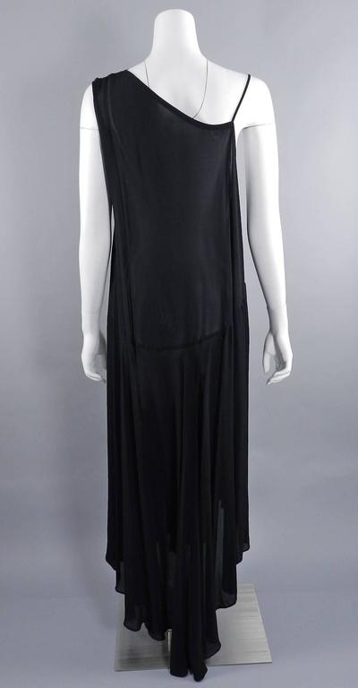 Yohji Yamamoto Vintage 1980's Black Long Sheer Dress In Excellent Condition For Sale In Toronto, ON
