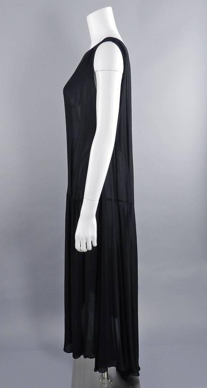 Yohji Yamamoto Vintage 1980's Black Long Sheer Dress 4