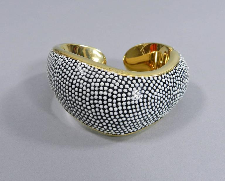 tom ford gold hinged bracelet with black and white enamel