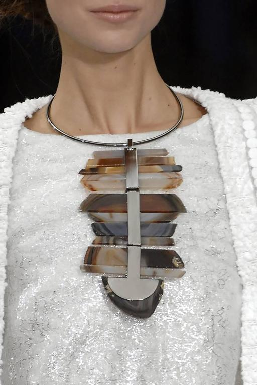 "Chanel 2009 spring runway collection large agate necklace.  Bold Modernist design with silver tone metal. Excellent condition - comes with original box. Pendant measures 7.5 x 4.75"". 