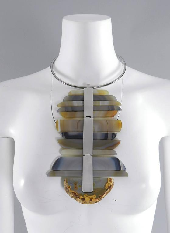 Women's Chanel 09P Runway Large Modernist Agate Statement Necklace For Sale