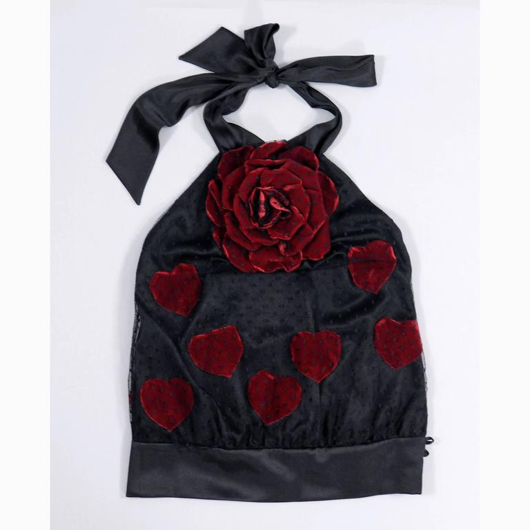 Moschino black lace halter top with red velvet rose and hearts 8