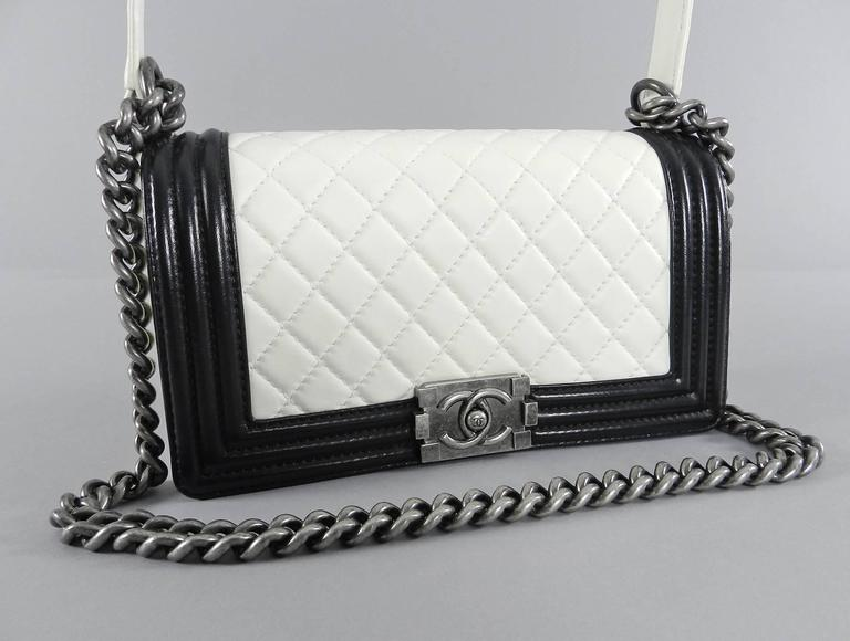 White Chanel 13P Quilted Boy Bag - Ivory and Black For Sale d1a6ce8d1