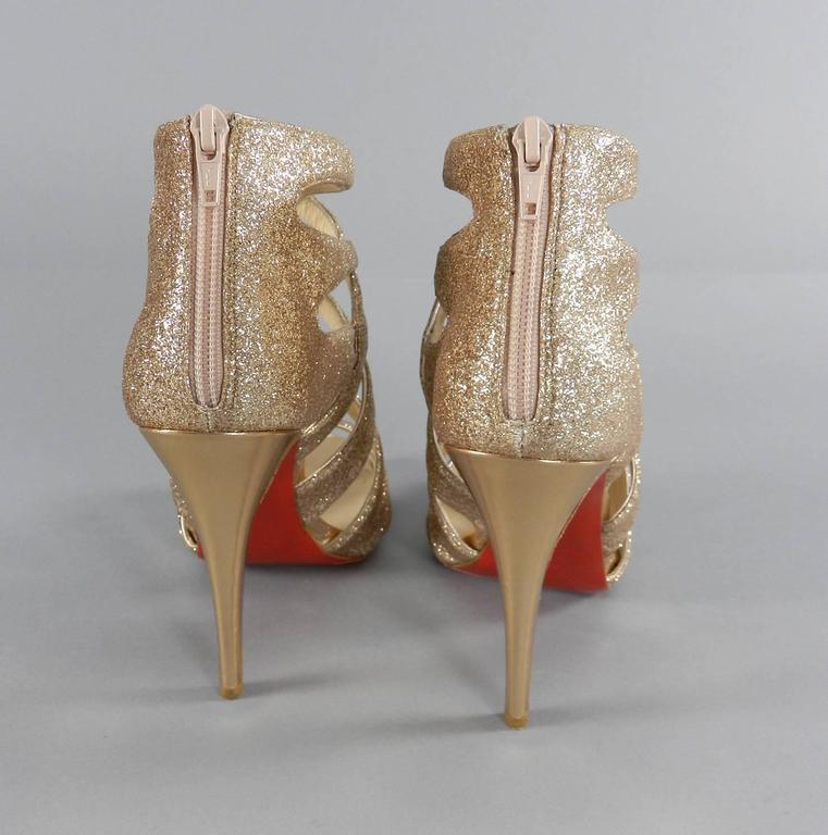 Christian Louboutin Balota Gold Glitter Gladiator Sandal