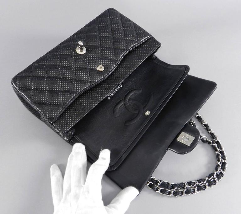 Chanel Black Perforated Classic Flap Bag Purse Medium Silver Hardware In Excellent Condition For