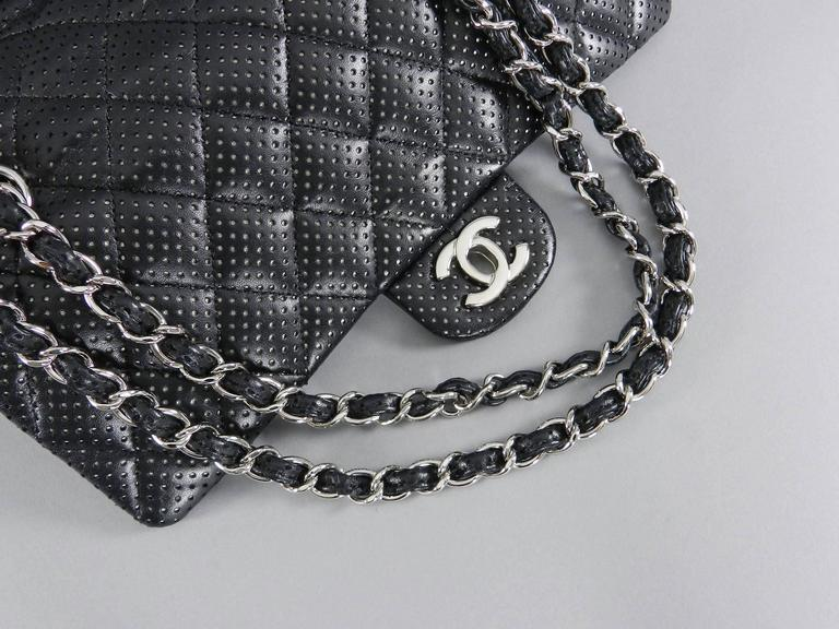 e9dd83dcce06f4 Women's CHANEL Black Perforated Classic Flap Bag Purse Medium Silver  Hardware For Sale