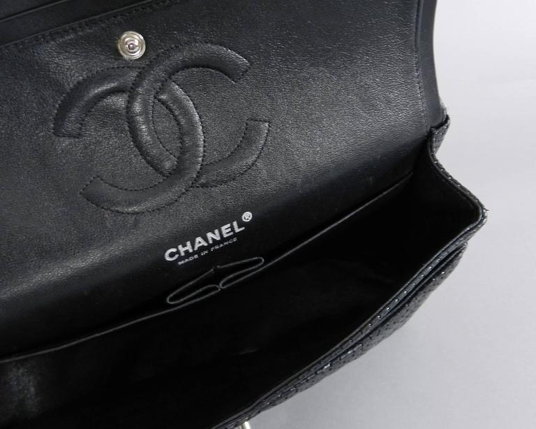 12ada11a83720d CHANEL Black Perforated Classic Flap Bag Purse Medium Silver Hardware For  Sale 3