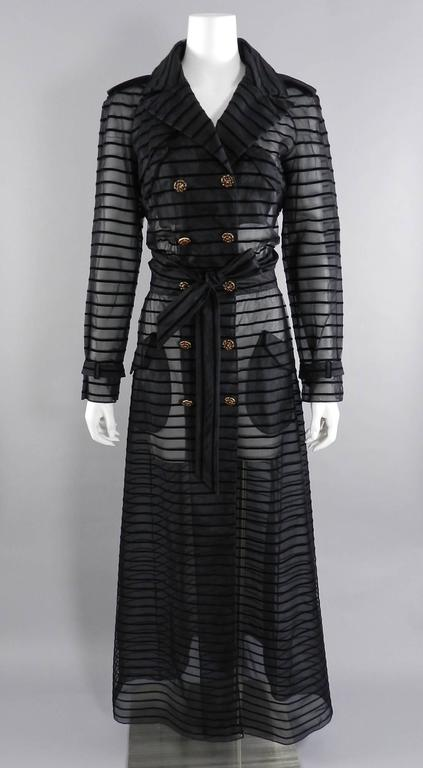 Chanel 10c Long Sheer Black Striped Duster Jacket With