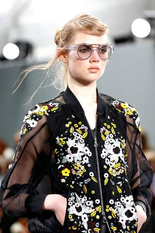 Erdem Danni Sheer Organza Silk Embroidered Bomber Jacket 3