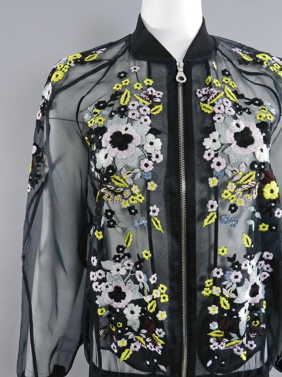 Erdem Danni Sheer Organza Silk Embroidered Bomber Jacket 4