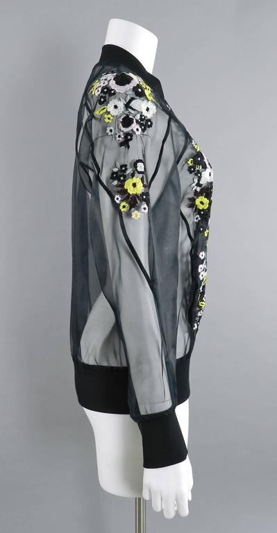 Erdem Danni Sheer Organza Silk Embroidered Bomber Jacket 5