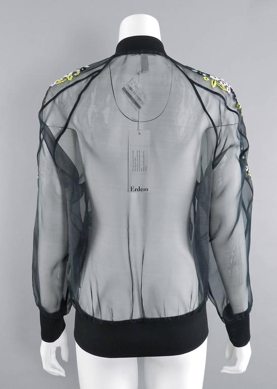 Erdem Danni Sheer Organza Silk Embroidered Bomber Jacket 6