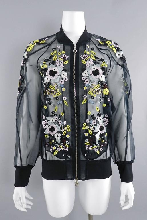 Erdem Danni Sheer Organza Silk Embroidered Bomber Jacket 10