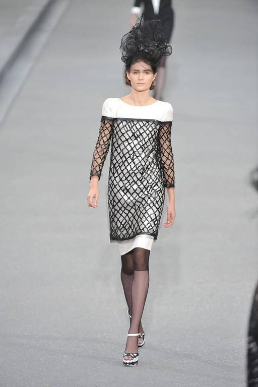 Chanel 09P White Sequin Runway Dress with Black Rubber Mesh Overlay 2