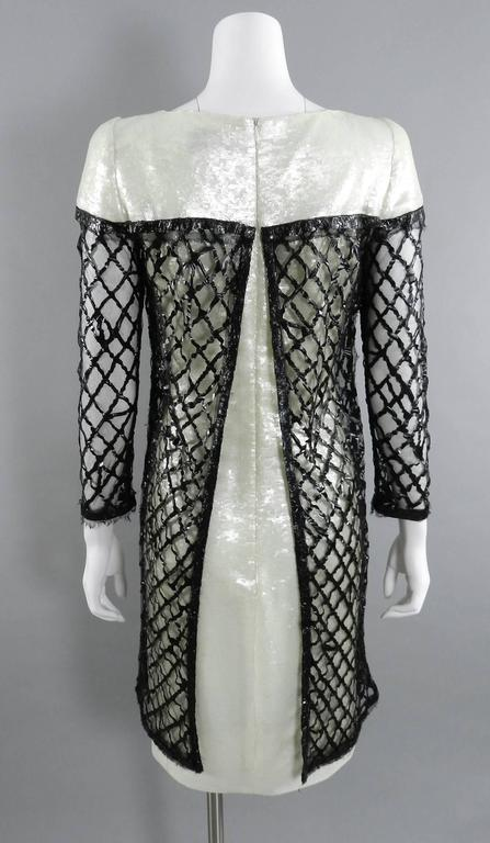 Chanel 09P White Sequin Runway Dress with Black Rubber Mesh Overlay 4