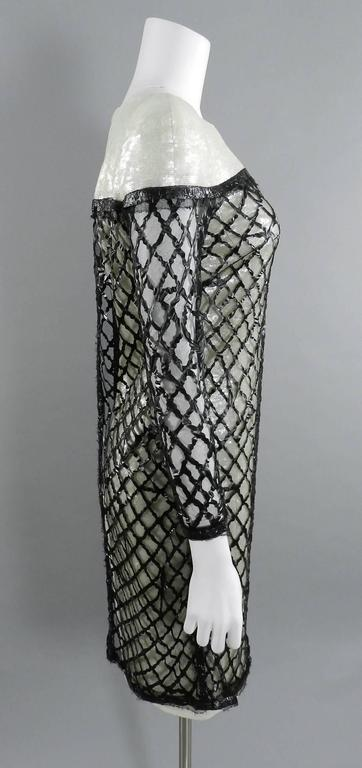 Chanel 09P White Sequin Runway Dress with Black Rubber Mesh Overlay 5