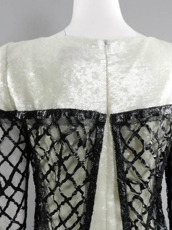 Chanel 09P White Sequin Runway Dress with Black Rubber Mesh Overlay 6