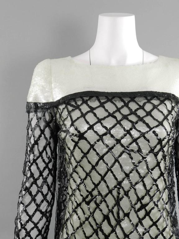 Chanel 09P White Sequin Runway Dress with Black Rubber Mesh Overlay 7