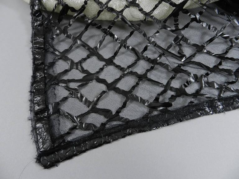 Chanel 09P White Sequin Runway Dress with Black Rubber Mesh Overlay For Sale 5