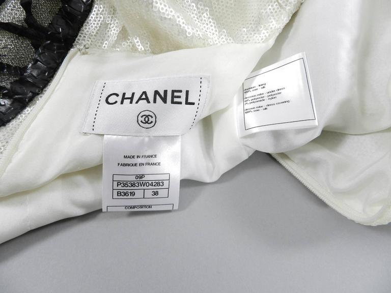 Chanel 09P White Sequin Runway Dress with Black Rubber Mesh Overlay 10